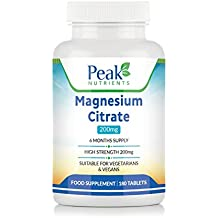 Citrato de Magnesio, 180 Comprimidos de 200 mg (Suministro para 6 meses),