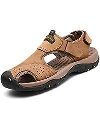 bdcaf031006 Hombres Sandalias Roman Beach Cuero Zapatos de Verano al Aire Libre Casual  Flip Flops Zapatillas Deportivas