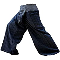 2 TONE Thai Fisherman Pants Yoga Trousers FREE SIZE Plus Size Cotton Dark Blue and Drill Striped GRAY by kittiya