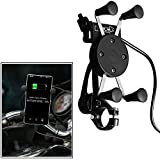 Ceuta Retails, Automotive 360 Degrees Rotation Motorbike Motorcycle Holder For Mobile Phones PDA GPS Holders With USB Charger (Black)