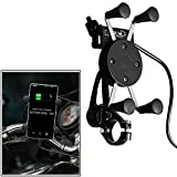 #5: Ceuta Retails, Universal Motorcycle Scooter Phone GPS Mirror Rear View Mount Phone Holder Stand USB Charger for 3.5 to 6.5 inch Smart Phones