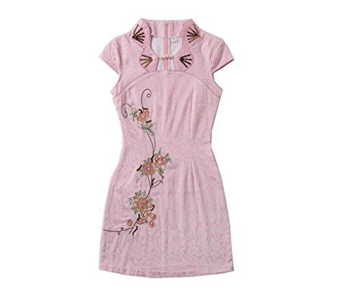 ACVIP Damen Retro Gestickte Kurzarm Chinesische Stil Baumwolle Cheongsam Pink