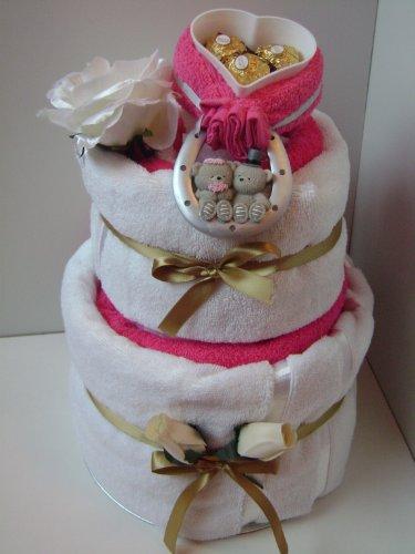 3 estantes de toalla torta de regalo del cesto de herradura de la buena suerte **HERMOSO REGALO DE BODA** Regalo único de Babysfirstnight.