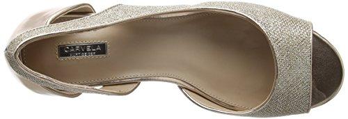 Carvela Gip Np, Escarpins Bout ouvert femme Gold (Metal Comb)
