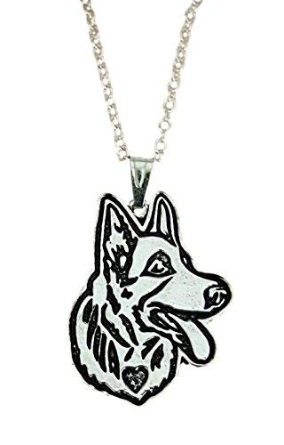 Deutscher Schäferhund geätzt Silber Kette Anhänger Halskette von pashal