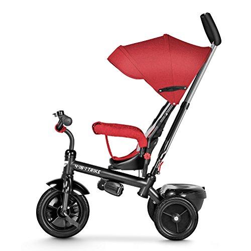 4-in-1 Kinderdreirad Tricycle Kinder Fahrrad Dreirad mit Sonnendach & Schubstange - rot