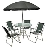 Garden 6 Piece Seater Outdoor Home Patio Furniture Dining Set with Round Tempered Glass Table, 4 Comfortable Chairs and Large Parasol