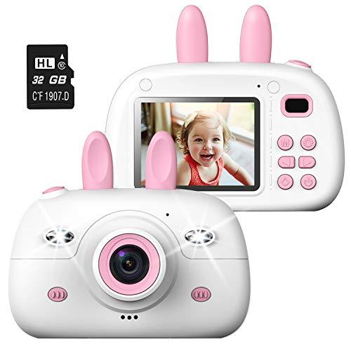 Action Kinder Kamera, 8MP Digitale Kamera für Kinder, Selfie Kleinkindkamera mit 2,4 Zoll Farbdisplay und 32GB SD Karte, Front-Heck-Doppellinse, 1080P HD, Geburtstag Geschenke für Kinder, Rosa