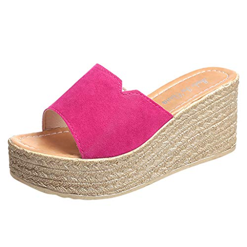 Hausschuhe Frauen Damen Sandalen Peep Toe Plateau Wildleder Strand Keilabsatz Keilpumps Rom Slip-On Plateauschuhe Casual Wedges Schuhe (Pink,36 EU)
