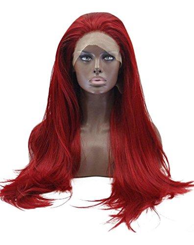 """Kalyss 26"""" rote Lace Front Perücke Mittelteil lange gerade hochwertige Yaki synthetische Perücke Haar für Frauen (rot) Mittel"""