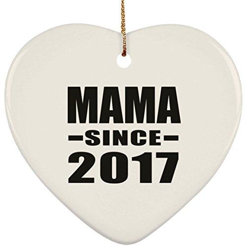 Designsify Mama seit 2017Keramik-Herz-Dekoration, Weihnachtsbaum, Dekor, Geschenk zum Geburtstag, Hochzeitstag, Silvester, Valentinstag, Ostern, Mutter-/Vatertag
