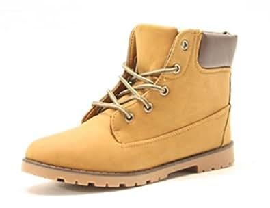 Chaussures pour femme coloris caramel bottes fourrées à lacets, pointure 36 (couleur :  camel