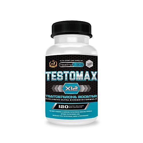 TESTOMAX X12 - Testosteron-Booster - Wirksamer Libido-Verstärker - Erhöht die Muskelmasse, die Energie und Leistung - Beugt Fettansammlungen vor - Energie- und Lebenskraftquelle - 120 Kapseln