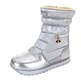 AOOPOO Women's Snow Boots Waterproof Fur Lined Winter Warm Boots Non-Slip Rain Boot Middle Tube Comfy Flats Side Zipper Casual Boots Shoes Outdoor Walking(Silver,6.5 UK/39EU)
