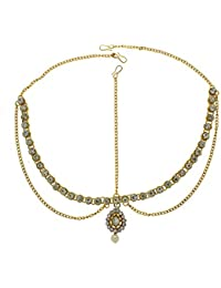 Anuradha Art Golden Finish Styled With Studded Shimmering Stone Traditional Mang Tikka For Women/Girls