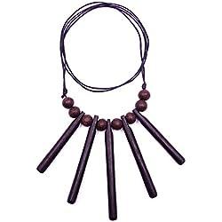 made in zen - Collar de Madera con Colgante étnico Tribal Ajustable Wooden Necklace Tribal gótico
