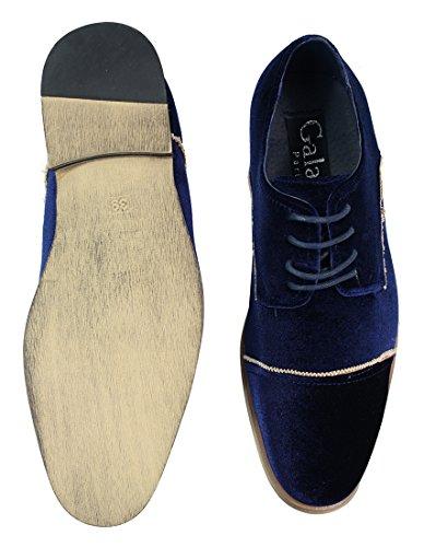Chaussures homme style velours bleu noir avec lacets chic et décontracté Bleu