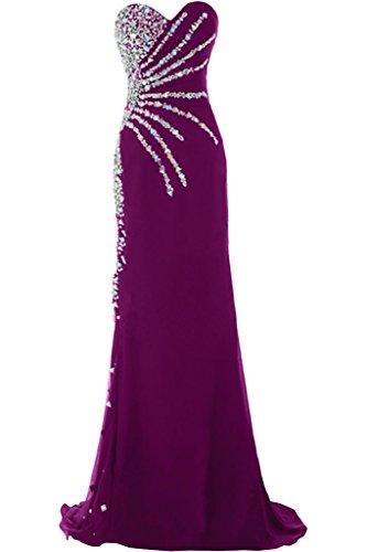 Sunvary Exklusive Neu Herzform Chiffon Steine Abendkleider Lang Partykleider Pink