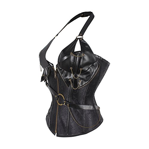 Lover-Beauty Damen Gothic Korsage Vollbrust Vintage Corsage Steampunk Korsett Schwarzer Jacquard