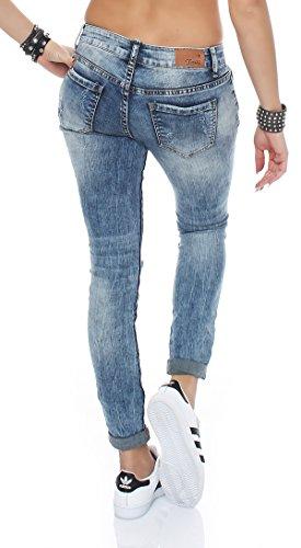 SKUTARI - Jeans - Boyfriend - Imprimé Aztèque - Femme Bleu - Light-Denim