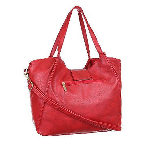Damen Tasche, Schultertasche, Mittelgroße Handtasche, Kunstleder, TA-J827 Rot
