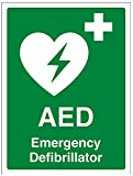 """VSafety, cartello di primo soccorso con scritta """"AED Emergency Defibrillator"""" (lingua italiana non garantita), autoadesivo, verticale, 150 mm x 200 mm, colore verde, 31034AN-S"""