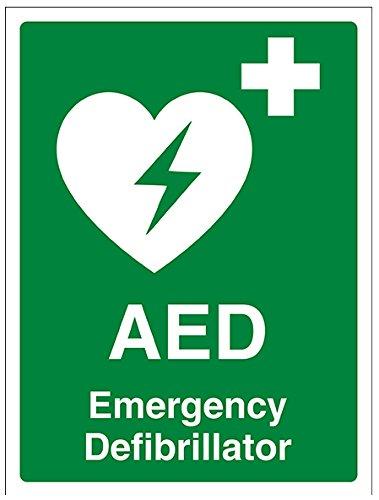 """vsafety 31034an-s""""AED Notfall Defibrillator"""" Erste Hilfe Allgemeine Schild, selbstklebend, Hochformat, 150mm x 200mm x 200mm, grün"""