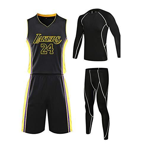 VNBA Kobe Bryant Basketball Jersey, Lakers NO.24 Basketball Jersey und Shorts mit Herren Mesh Basketball Strumpfhose Training 4 Set-Black B-3XL(175.180CM)