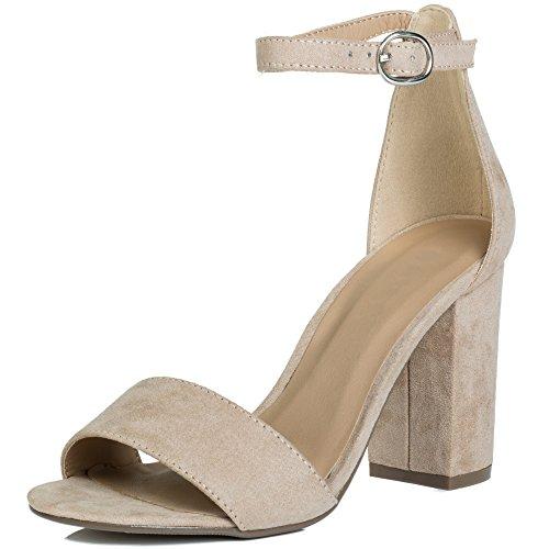 Open Peep Toe Block Heel Sandals Shoes Nude Suede Style Sz 6 Heel Peep Toe