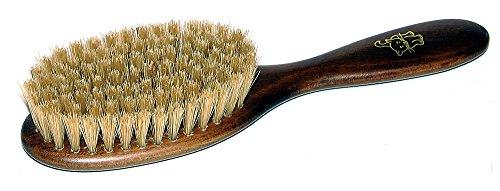 Katzenbürste, ca. 18 x 5 cm, Fell Bürste aus gebeiztem Holz mit Naturfaser Borsten, auch für andere Haustier Felle geeignet