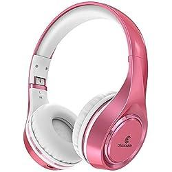 Casque Bluetooth sur l'oreille, Chououkiu Casque sans fil Pliable Hi-Fi Stéréo Casque avec Micro Volume en Ligne, Filaire et sans fil Casque pour Téléphone Portable / TV / PC (Rose/Or)