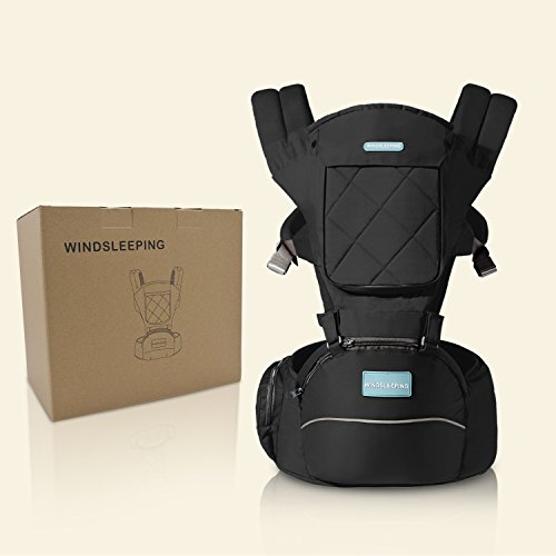 Windsleeping Baby and Child Carrier Backpack 6-in-1 Detachable Natural Latex Carrier Sling with Hip Seat, Suit for Newborn, Infant,Toddler,Kids - Black  Windsleeping
