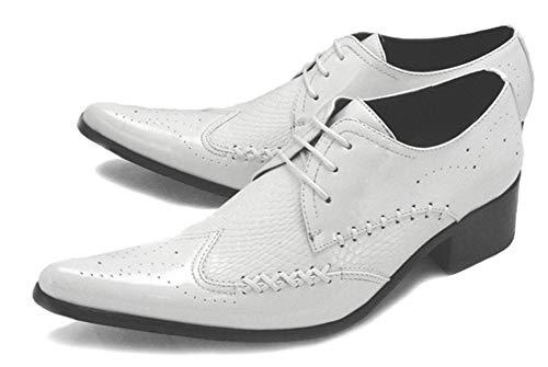 HNM Shoes Herren Lederschuhe Hochzeitsschuhe Schnürschuhe Western Cowboystiefel Leder Schuhe Spitze Weiß Cowboy Stiefel Klassisch Abend Party,White,EU43/UK9 -