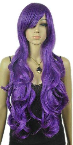 Qiyun Femme Extra Longue Violet Ondule Boucle Resistant a la Chaleur Cap Complete Cheveux Cosplay Anime Costume Perruque