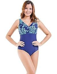 af81467a747e2d EwigYou Damen Retro Große Größen Monokini mit Hohen Beinen Einteiliger  V-Ausschnitt Badeanzug Bauchweg…