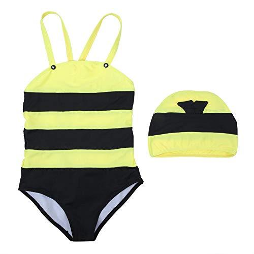 t Cute Cartoon Bee Muster Backless Rash Guard Sets Kinder Strand Sommer Strampler Outfits mit Badekappe(L) ()