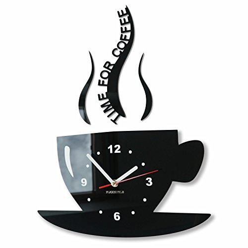 Orologio da parete da cucina tazza la tazzina nera silenzioso moderno per bar 3 d decorativo