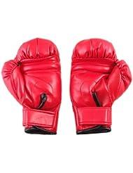Guantes de Boxeo de Cuero Sintético Rojo con Acolchado de Esponja para Niños