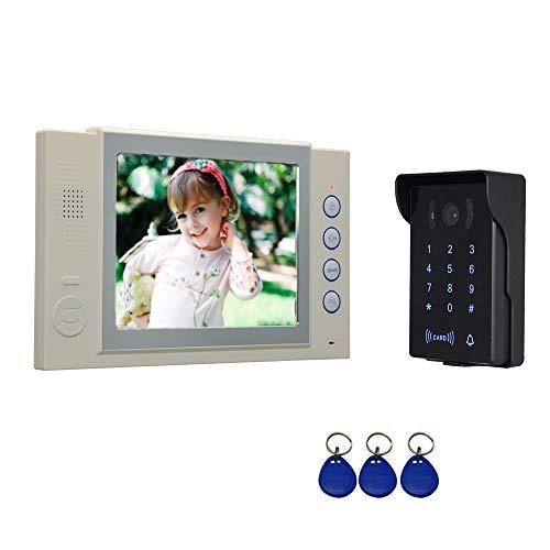 Nudito Kit Sonnette de Porte Visuelle Filaire avec. Visiophone (1 X Moniteur LCD 8 Pouces, 1 X Caméra Infrarouge Imperméable avec Vision Nocturne. Déverrouillage avec Carte RFID et Mot de Passe)