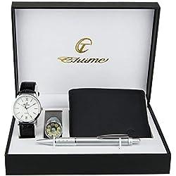 Coffret cadeau Montre Homme Blanc - Lampe LED - Portefeuille - stylo