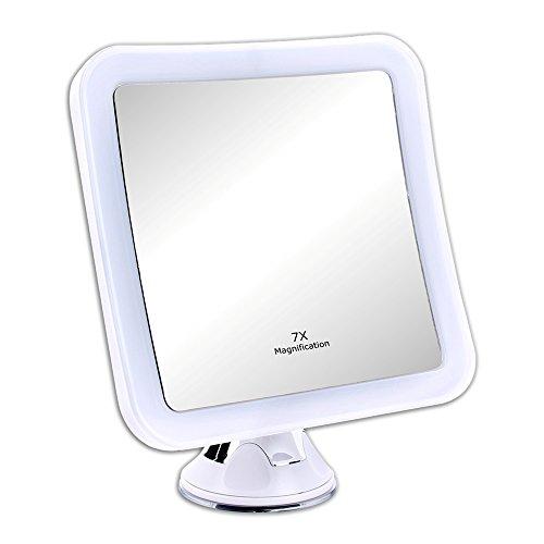 Schramm® LED Spiegel 7-Fach Vergrößerung mit Saugnapf LED Schminkspiegel Weiss Schminkspiegel mit LED Make up Spiegel mit Beleuchtung Standspiegel Kosmetikspiegel Badezimmerspiegel Kosmetik Spiegel -