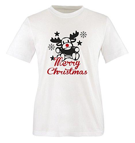 Merry Christmas Elch - Herren Unisex T-Shirt Weiss / Schwarz / Rot