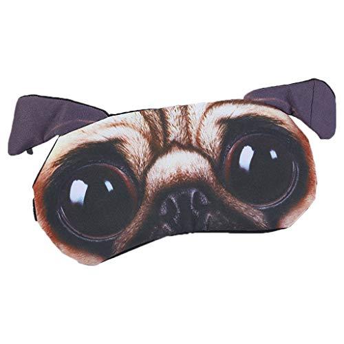 ZOUCY 3D Lustige Cartoon Tier Katze Hund Gedruckt Augenklappen Schlafmaske Baumwolle Augenbinde Tragbare AdjustableA