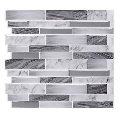 3D Tapete Wandpaneele Selbstklebend Steinoptik Mosaik Wandfliese Peel und Wall Stick Backsplash für Küche, Marmor Design 4er Pack (Farbe 3) -