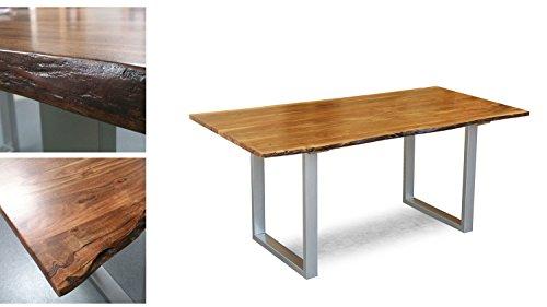 Massivholz Tisch Agra Esstisch 160x90 cm Akazie Baumkante Gestell alufarbig