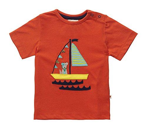 Bio-hund Tee (Piccalilly Bio-Baumwolle Unisex Baby Mädchen oder Jungen Kurzarm Orange Meer Hund Druck T-Hemd)