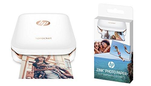 HP Sprocket - Impresora fotográfica portátil, color blanco + 20 hojas de papel fotográfico adhesivo