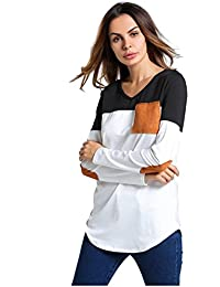 SODIAL(R) Women New T Shirt Tops Funny Shirt Casual O Neck Long Sleeve Elbow Patch Contrast Color Patchwork Tops(White,S/US-4/UK-8)