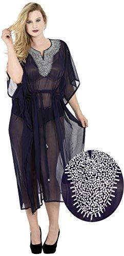 La Leela kimono en mousseline de soie douce, plus robe simple dames brodées caftan boho causal beachwear maxi poncho couvrir robe Bleu