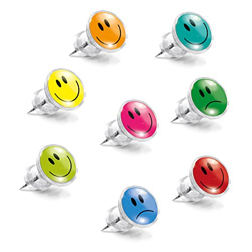 Eurographics Pinnwand-Nadel-Set, Kunststoff, Metall, MB-PIN1024 Smiley Pins-8er, 20.5 x 8.5 x 2.8 cm, 8-Einheiten